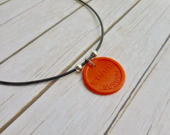 Waldrock chip coin charm leather necklace Original orange rock festival Burgum coin brown leather mens ladies jewelry handmade jewelery