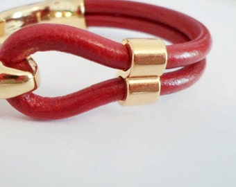 Thick Bright Gold 5mm Double Barrel Slider