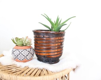 Vintage Basket Planter Black and Brown Small Rattan Pot Boho Planter Indoor Planter Outdoor Planter
