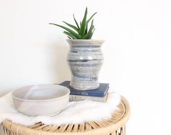 Blue Planter Pot Ceramic Studio Pottery Hand Thrown Stoneware Blue Ceramic Cactus Succulent Pot