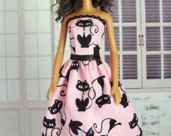 Barbie clothes, handmade, Barbie dress, pink cat dress, Barbie cat dress, fashion doll clothes, modest Barbie, Barbie party, doll dress