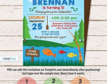 Fishing invitation Etsy