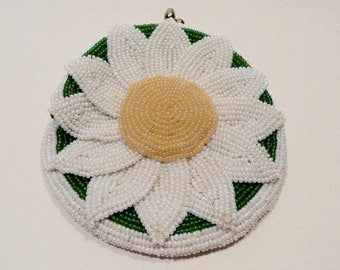 Mid Century Vintage Delill Seed Bead Daisy Coin Purse Made In Japan