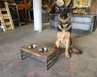 Modern Industrial Raised Dog Dish/Bowl Stand