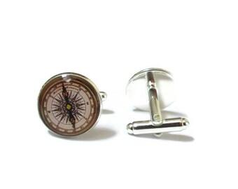 Antique Compass cufflinks - Old Compass cufflinks - compass cuff links - vintage compass cuff links - resin cufflinks - traveler cufflinks