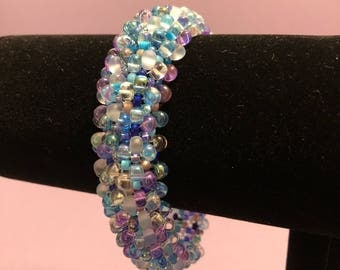 Purple and Blue Textured Beaded Peyote Bracelet w/ Magnetic Clasp
