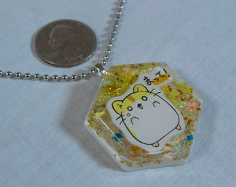 Much Excite Furry Little Hamster Yellow Hexagon Pendant