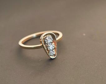 "14K Yellow Gold ""Three Diamond"" Cluster Ring - 0.05 Carat Weight"
