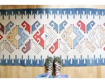 Vintage Rug // 270x75 cm Kilim Runner Floor Rug // Colorful Geometrical Pattern Rug