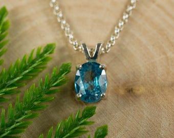 Blue Zircon Sterling Silver Pendant