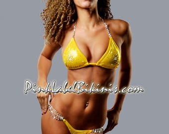 Yellow Brick Road Crystal Competition Bikini Swimsuit Suit For Contests & NPC NSL  IFBB Fitness Posing Suit
