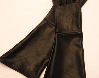 Black Deerskin Long Cuff Gauntlet Glove - Made in the USA