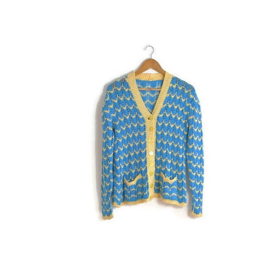 Vintage knitted cardigan / blue yellow wool Cardigan / 70s knit / cobweb chevron hand knitted cardigan / retro 70s cardigan / boho cardigan