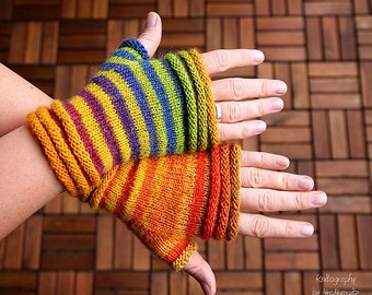 Fingerless Mittens knitting pattern PDF download, easy pattern for beginners and advanced knitters