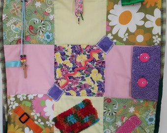 Fidget Quilt for Alzheimer Patients, Gift for Grandparent, Wheelchair Activity, Rehab Tool,