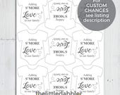 Adding S'more Love to Our Family! -- Printable Custom Mini Onesie Baby Shower S'more Favor Tags -- PDF