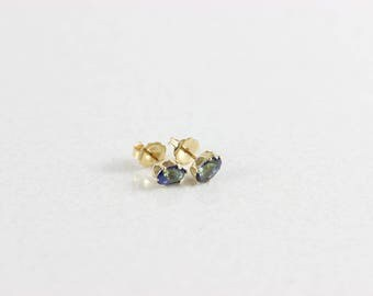 14k Yellow Gold Mystic Topaz Earrings Post Studs Earrings