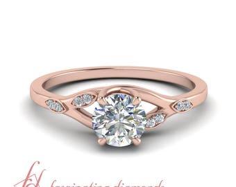 Leaf Engagement Ring 0.50 Carat Round Diamond In 14K Rose Gold GIA Certified