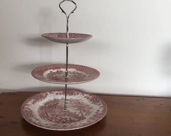 "vintage THREETIERED CAKE STAND, cupcake stand, high tea, ""tickle me pink"", Churchill, Broadhurst, vintage china, pink transferware"