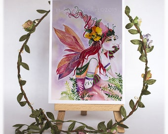Fairy Greeting Card, Pink Birthday Card, Art Birthday Card, Fairy Greeting Card, Cards For Friends, Cards and Envelopes, Blank Cards