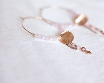 Rose gold hoops and pearls