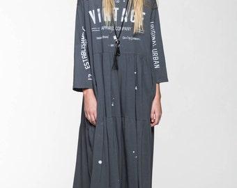 ON SALE Gray Maxi Dress  Vintage