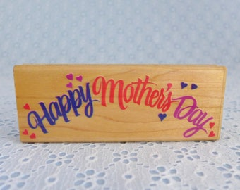 Happy Mother's Day Rubber Stamp, by Rubber Stampede, Vintage, Wood Mounted, Posh Impressions, Mother's Day Card Making, Paper Stamping