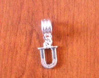 Silver fancy pendant Letter U 16 x 11 mm