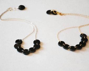 Minimalist leather necklace, Circle necklace, Geometric leather necklace, Dainty necklace, simple necklace, Delicate necklace, Leather gift