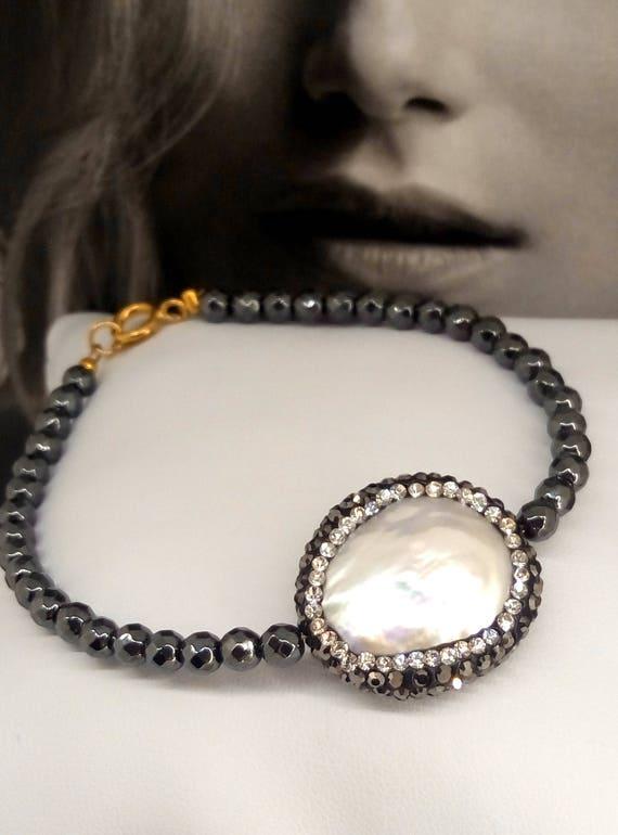 Hematite bracelet, pearl bracelet,  pave rhinestone crystal pearl bracelet, gemstone bracelet, hematite faceted bracelet, gift for her