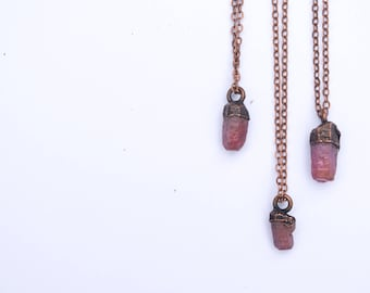 Ruby crystal necklace | Raw ruby necklace | Raw mineral necklace | Ruby gemstone pendant on copper chain | Rough ruby crystal pendant