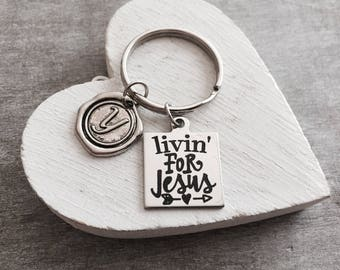 Living for Jesus, Gifts, Scripture, Faith, Religious, Christian, Bible Verse, Silver Keychain, Silver Keyring, Healing, Silver Jewelry