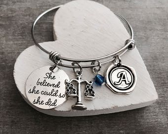 Silver Bracelet, scales of justice, Lawyer Gift, Scales charm, Libra, Scales Bracelet, She believed she could so she did, Gift