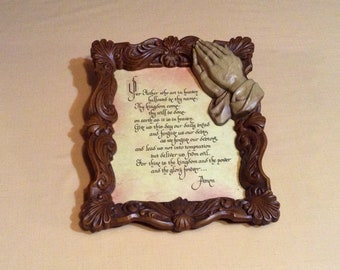 Vintage Lord's Prayer Picture in Ornate Carved Frame - Carved Praying Hands - Religious, Christian Home Decor - Gift