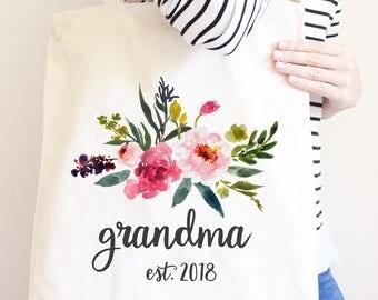 Grandma Canvas Tote Bag, Pregnancy Announcement, Grandma Established