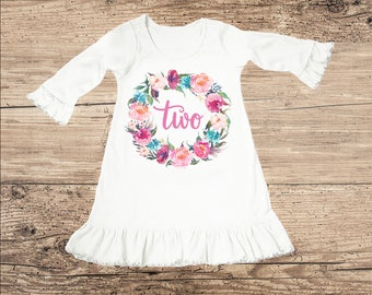 Birthday Dress for Two Year Old, Second Birthday Outfit, Flower Ruffle Dress