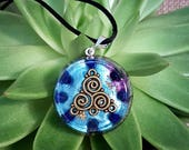Orgone Pendant - Lapis Lazuli - Triskelion - Third Eye Throat Chakra Healing Lightworker Jewellery - Positive Energy - Medium