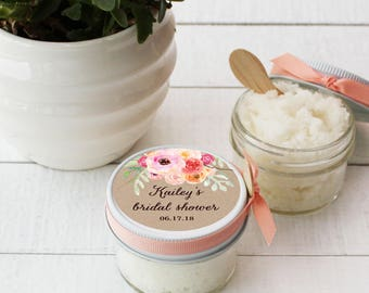 Set of 12- 4oz - Sugar Scrub Bridal Shower Favor - All-Natural, Vegan - Bouquet Label // Rustic Shower Favor // Mason Jar Favor