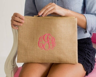 Personalized  Burlap Zip Pouch