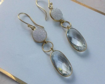 Dangle White Drusy Quartz Earrings/ Casual Wedding Jewelry/ Gemstone Earrings