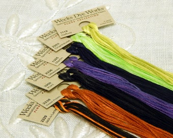 Weeks Dye Works - Six Strand Embroidery Floss - Five Yards - Halloween Pack - Seven Skeins