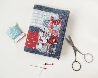 Needlebook, Needlecase - Denim , Hand Stitched, Sewing Gift, Blue, Red