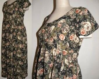 1990s Floral Rayon MIDI Dress / Vintage Revival Gypsy Boho / Festival Cottage Rose Print Bohemian