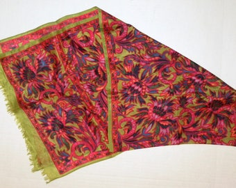 "1960s 70s  Silk Scarf / Chartreuse & Pink Print / FLAW /  57"" x 14.5"""