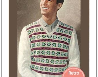 1950s Fair Isle Pullover Vintage Knitting Pattern - PDF Instant Download - PDF Knitting Pattern