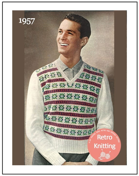 1950s Fair Isle Pullover Vintage Knitting Pattern - PDF Instant ...