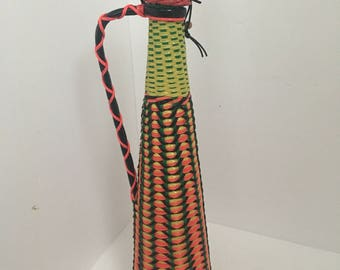 Vintage Neon Colorful Wicker Wrapped Scoubidou Bottle/Wine Decanter