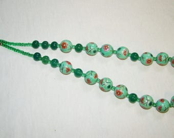 A-6 Hand Painted Necklace with Flowers