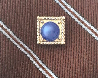 Vintage Mid-Century Swank Moon Glow Tie Tack, Blue Cabochon Round Set in Silver Tone Square Tie Pin, MCM Men's Accessory
