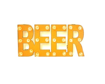 Beer Marquee Rusted Metal Vintage Inspired Lighted Sign